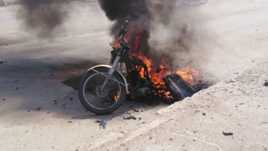 Photo of Material damages in the countryside of Deir Al-Zour due to an explosion of a bombed motorcycle.